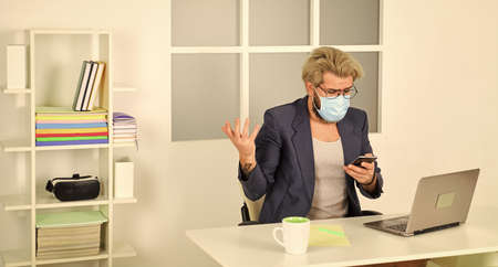 oh my god. man working on distance in home office. Without personal contact. making business online.