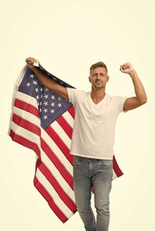 Freedom has never been free. Happy man celebrate independence day. American citizen hold american flag. Enjoying free life. Free expression of patriotism. July 4th. Free will of states