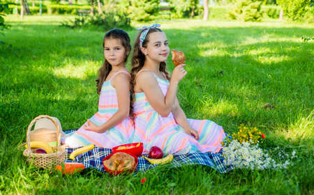 Small babies eat picnic meal on green grass on sunny summer landscape, outing