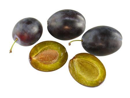 optionnel: 4 prunes fra�ches - une coupe en pierre - en option Banque d'images