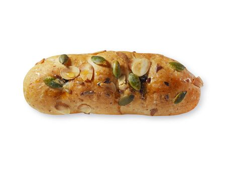 white backing: Bread on isolated with pumpkin seed and almond top view