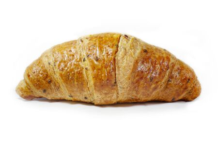 traditionally french: Fresh croissant with black sesame on white background