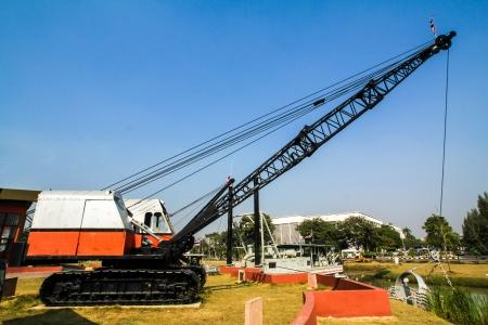 maneuverable: crane truck with blue sky