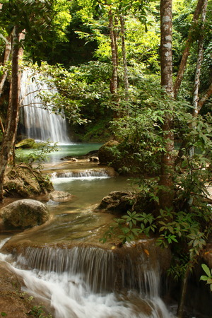 erawan: Layer of Erawan waterfalls at Erawan natural park in Kanchanaburi province in Thailand