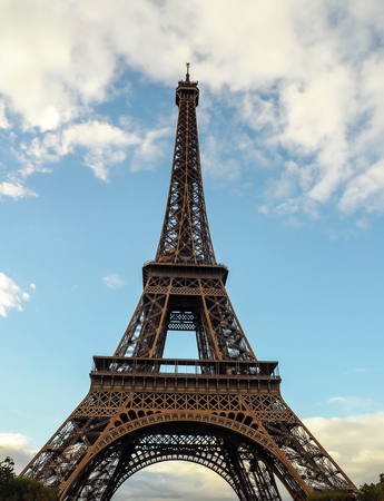 Eiffel tower, where is landmark of Paris France, stands alone and sky with cloud likes as background. It is attractive tourists around the world to visit here.