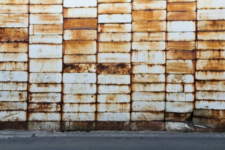 abandoned factory: metal rusty wall Stock Photo