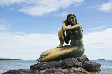 bronze mermaid sculpture, Songkhla, Thailand