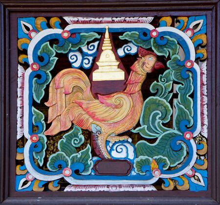 Ancient carving wooden windows of Thai temple, thailand