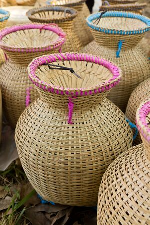 Thai style bamboo basketry Stock Photo