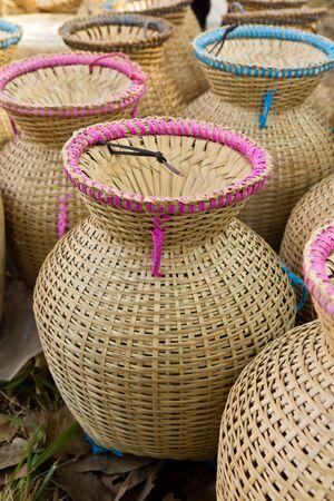 Thai style bamboo basketry Stock Photo
