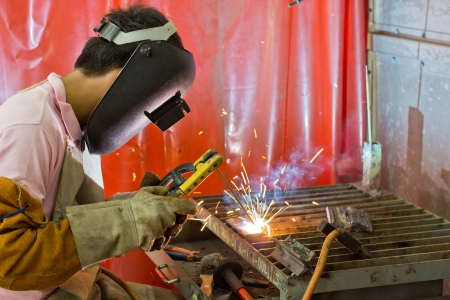 Welding and bright sparks