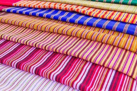 Texture of Thai cloth mix color