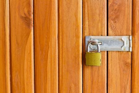 Closeup wood door with locked