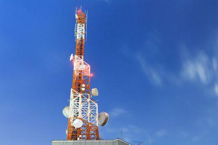 telecommunication tower at night Stock Photo