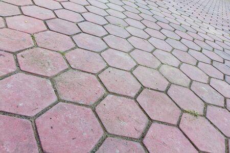 red brick block of road pavement