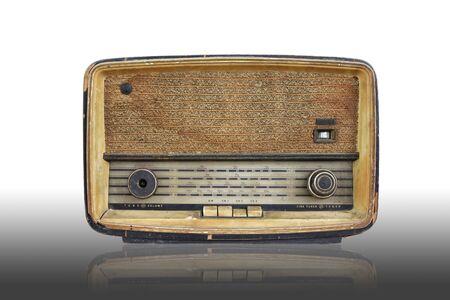 vintage radio isolated on white Stock Photo