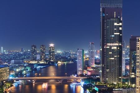 Chao Phraya river scene in Bangkok City, Thailand, cityscape