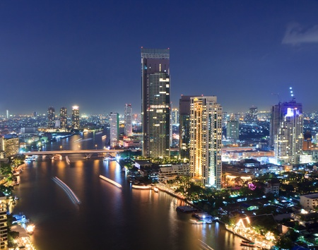 Chao Phraya river scene in Bangkok City, Thailand,cityscape photo