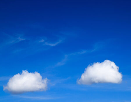 couple white clouds in the blue sky  Stock Photo
