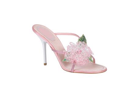 Fashion summer shoes for women close-up studio shoot.