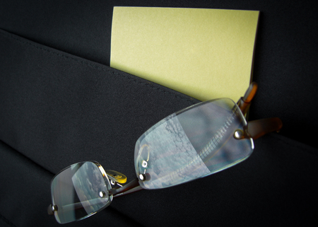close up shot of eyeglass reflect blue sky in briefcase pocket Stock Photo - 24001103