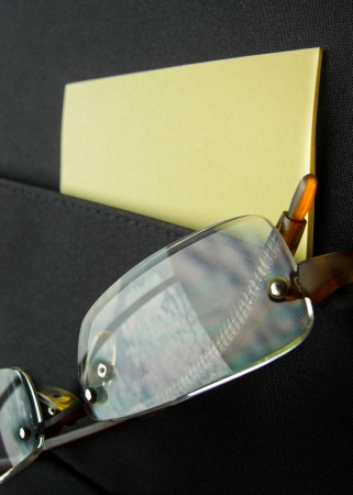 close up shot of eyeglass reflect blue sky in briefcase pocket Stock Photo - 24001104