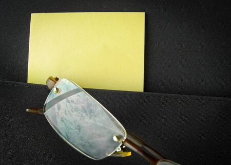 close up shot of eyeglass reflect blue sky in briefcase pocket Stock Photo - 24001105
