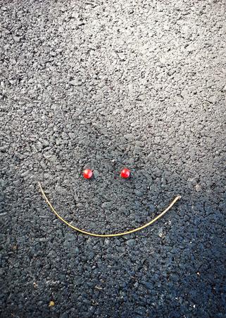 Zweig und Früchte bilden, um ein großes Lächelnsymbol auf dem Bürgersteig zu sein