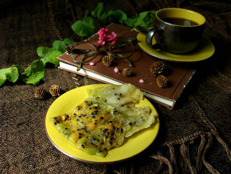 flavored: thai dessert made of coconut and corn called thongmuansod   Stock Photo