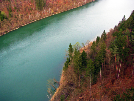 drava: spring banks on drava river in Austria Stock Photo