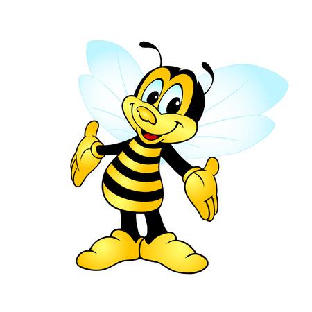 abeja sonriente de pie y mostrando las manos