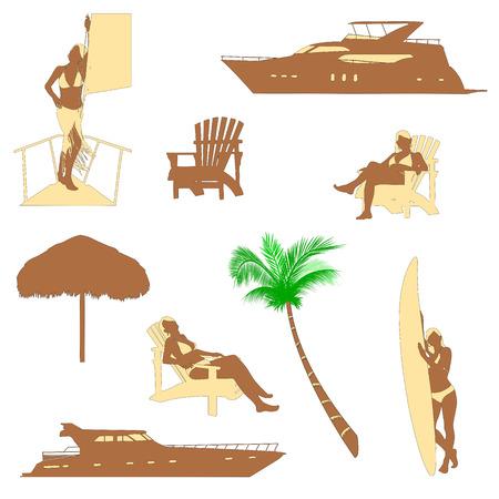conjunto de siluetas realistas de recreación playa con chica rubia en bikini