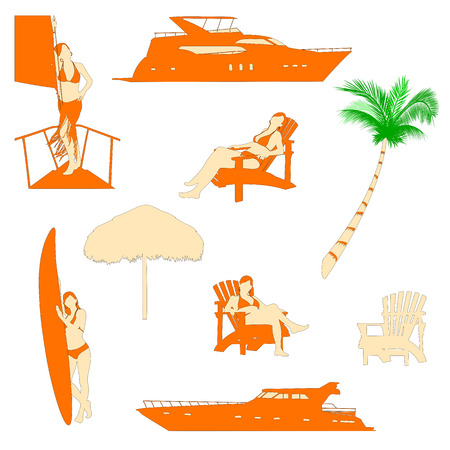 sexy umbrella: set of beach recreation realistic silhouettes with red-haired girl in bikini Illustration