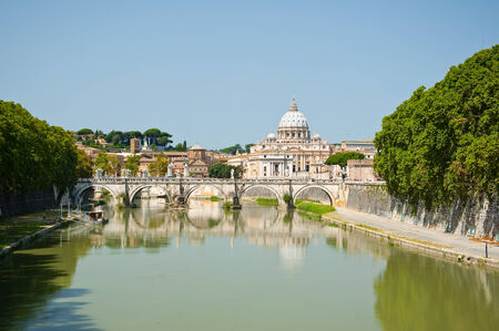 st  peter s  basilica: St  Peter s Basilica and the Tiber river seen from the Ponte Umberto I  Rome, Italy