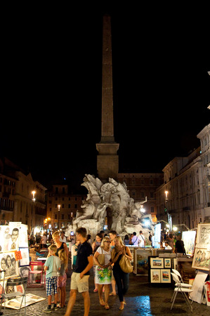 1st century ad: ROME-AUGUST 7  Piazza Navona on August 7, 2013 in Rome  Piazza Navona is a city square built on the site of the Stadium of Domitian in 1st century AD, in Rome, Italy