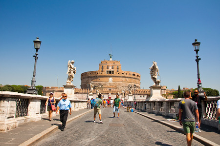 ROME-AUGUST 8  Castle of the Holy Angel on August 8,2013 in Rome, Italy  Castel Sant Angelo is a towering cylindrical building in Parco Adriano, Rome, Italy