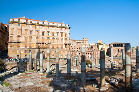 The forum of Trajan and the detail of the Trajan s market  Rome, Italy