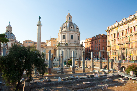 Panoramic view of the forum with the Trajan s Column  Rome, Italy