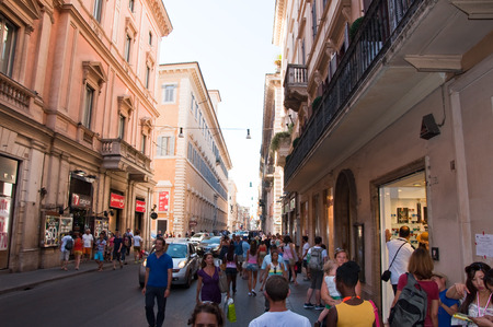 ROME-AUGUST 6  The Via del Corso on August 6, 2013 in Rome  The Via del Corso commonly known as the Corso, is a main street in the historical centre of Rome