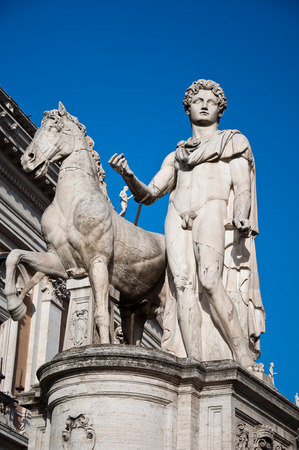 The statues of Castor and Pollux with their horses  Rome, Italy  photo