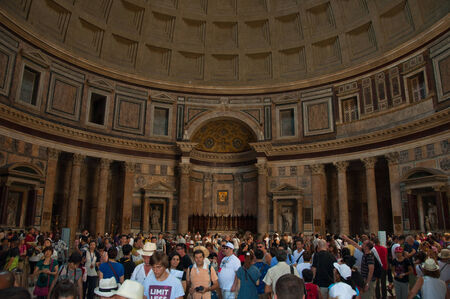 emporium: ROME-AUGUST 6  The interior of the Pantheon on August 6, 2013 in Rome, Italy  The Pantheon is a building in Rome, Italy to all the gods of ancient Rome rebuilt by the emperor Hadrian about 126 AD