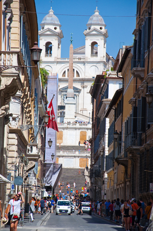 ROME-AUGUST 6  Via Condotti on August 6, 2013 in Rome  Via Condotti  officially Via dei Condotti  is a busy and fashionable street of Rome, Italy  photo