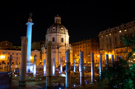 Trajan s Forum at Night  Rome, Italy  photo