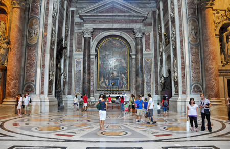 st peter s basilica: ROME-JULY 19  Interior of St  Peter s Basilica on August 19, 2013 in Vatican City  Rome