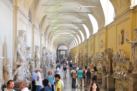 within: VATICAN - JULY 20  Galleria delle Statue on July 20, 2010 in Vatican Museum  The Vatican Museums are the museums of the Vatican City and are located within the city s boundaries  Editorial