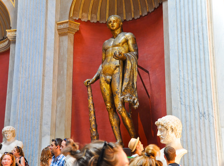 The bronze sculpture of Hercules in Sala Rotonda on July 20,2010 in the Vatican Museum, Rome, Italy