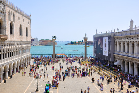 san marco: The Piazzetta San Marco, view from Saint Mark s Basilica on June 15, 2009 in Venice  Editorial