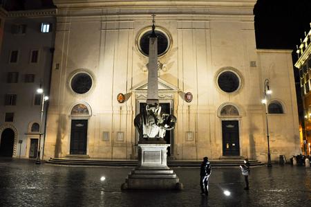 obelisk stone: ROME-OCTOBER 7  Piazza della Minerva at night on October 7,2010 in Rome, Italy  Piazza della Minerva is a piazza in Rome, Italy, near the Pantheon ;