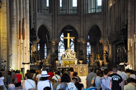 ile de la cite: PARIS AUGUST 15 Interior of the Cathedral of Notre-Dame in Paris, France on August 15, 2012