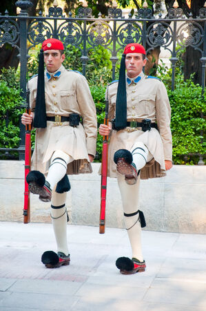 Greek Evzones on August 4, 2013 in Athens, Greece
